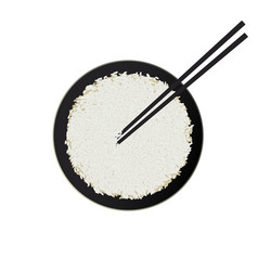 bowl of white rice with chopsticks isolated vector image