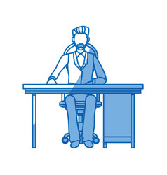 business man sitting working desk office vector image