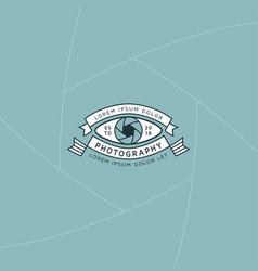 camera eye badge and label vector image