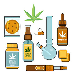 Cannabis marijuana forms for medical use flat set vector