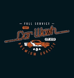 Car wash emblem in retro style vector