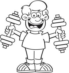 Cartoon boy exercising vector