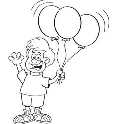 Cartoon boy holding balloons and waving vector image