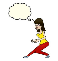 cartoon crazy dancing girl with thought bubble vector image