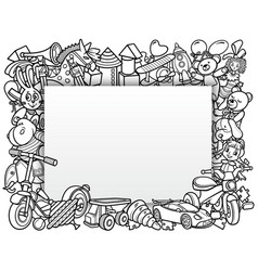 cartoon doodles hand drawn kids toys frame vector image