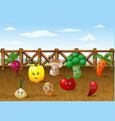 Cartoon vegetables garden farm background vector