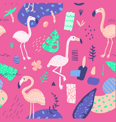 Childish summer seamless pattern with flamingo vector