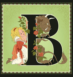 Children book cartoon fairytale alphabet letter b vector