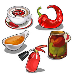 Chile pepper in different forms fire extinguisher vector