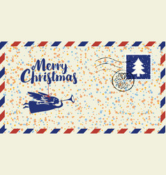 Christmas envelope with angel snowflakes and fir vector