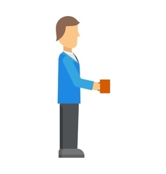 Coffee break business man with cup cafe beverage vector image