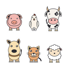 color of animals on a farm and pets vector image