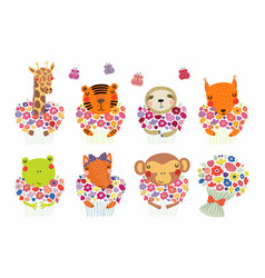 Cute little animals with flowers set vector