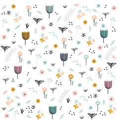 Cute pastel floral pattern hand drawn illu vector
