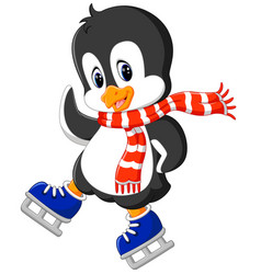 Cute penguin ice skating vector