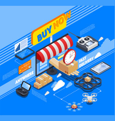 Delivery by drones isometric composition vector