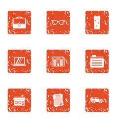 Document withdrawal icons set grunge style vector
