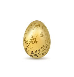 Easter egg 3d icon gold shine egg isolated white vector
