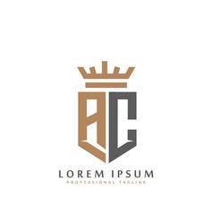 elegant wordmark ac initial shield crown logo vector image