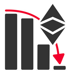 Ethereum classic falling chart flat icon vector
