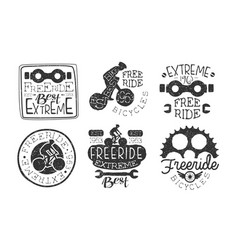 extreme freeride retro labels set bicycle sport vector image