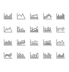 financial charts line icons candle stick graph vector image