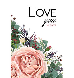 floral card design with rose flower leaves herbs vector image