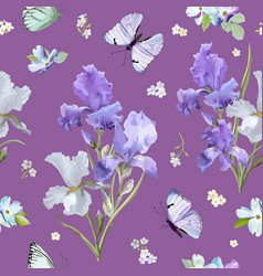 Floral seamless pattern with iris flowers vector