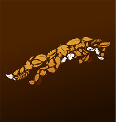 fox jumping out leaves vector image