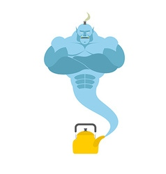 Genie from kettle Blue Magic spirit fulfills vector image