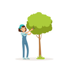 Girl cutting green tree using garden scissors vector