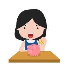 girl putting coin a piggy bank concept of saving vector image