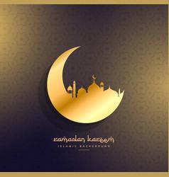 Golden moon and mosque design vector