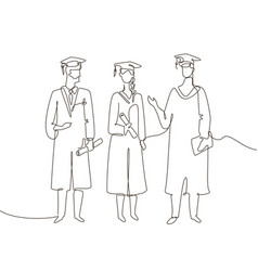Graduating students - one line design style vector