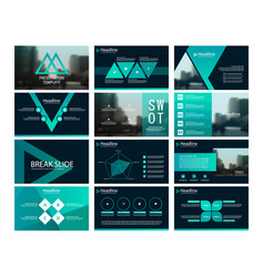 Green abstract triangle presentation templates vector
