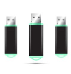 Green USB Flash Drive isolated set vector