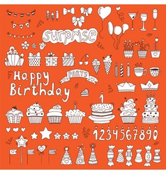 Hand drawn Birthday party elements on orange vector image