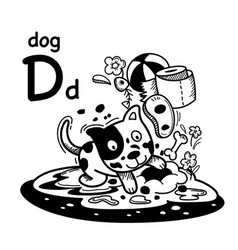 Hand drawnalphabet letter d-dog vector