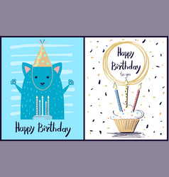 Happy birthday to you postcard vector