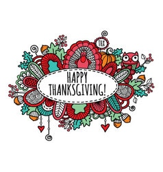Happy Thanksgiving Doodle Bright vector