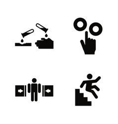 Hazard and danger simple related icons vector