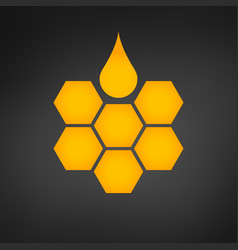 Honeycomb logo with honey drop vector