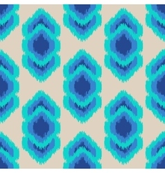 Ikat geometric seamless pattern Turquoise blue vector image