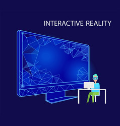 Interactive reality person with vr glasses vector