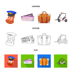 Isolated object of airport and airplane logo set vector