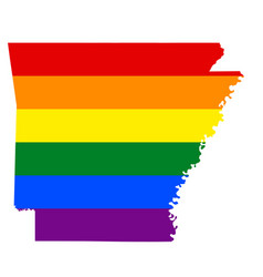 Lgbt flag map of arkansas vector