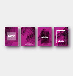 magenta paper cut wave shapes layered curve vector image