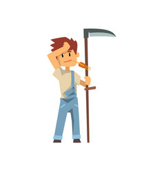 Male farmer scythe for grass farm worker with vector