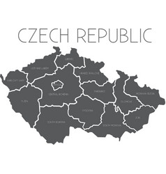 Map of Czech Republic with administrative regions vector