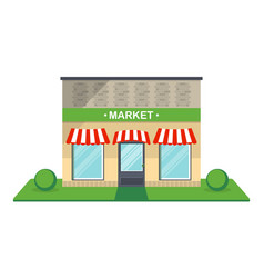 Market facade isolated icon vector